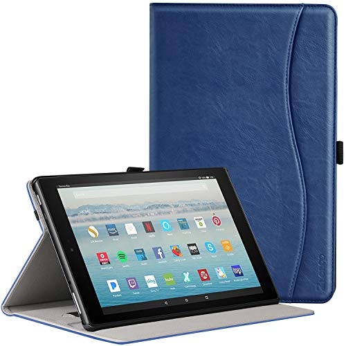(Ztotop Folio Case for All-New Fire HD 10 Tablet (2017 Release, 7th Generation) - Smart Cover Slim Folding Stand Case with Auto Wake/Sleep for All-New Fire HD 10 Tablet, Navy blue)