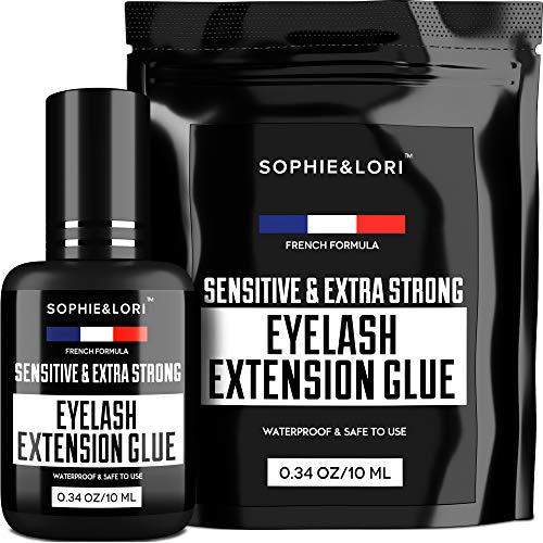 Eyelash Glue for Lash Extensions - Extremely Strong Lash Glue for Professional Use - 1 Sec Drying & Maximum Bonding - 2X Size 0,34OZ - Extra Black Lash Adhesive - Latex FREE Lash Adhesive (The Best Lash Extensions)