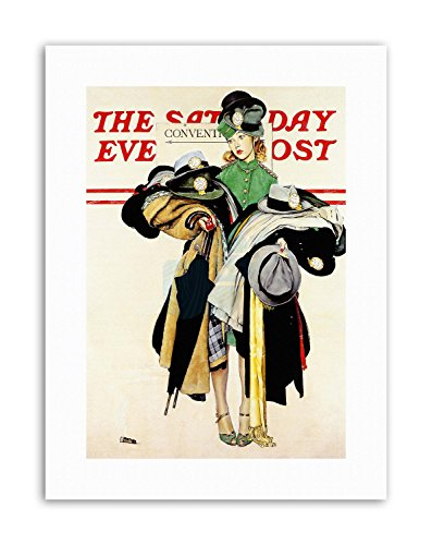paper Cover Saturday Evening Post Coat HAT Girl Canvas Art Prints ()