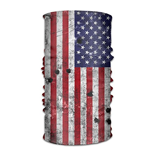 TOP YAZU Wens&Womens USA Flag Painted Bullet Holes Headband Scarf Face Mask Magic Bandana As Neck Gaiter Head Wrap Ultra Soft Elastic Quick Dry Microfiber For Outdoor Sports Yoga One Size (Head Bullet Ultra)