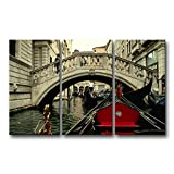 3 piece Black White And Red Wall Art Painting Italy Venice Bridge Gondola Pictures Prints On Canvas City The Picture Decor Oil For Home Modern Decoration Print
