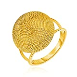 14K Yellow Gold Ring with Textured Round Dome Top
