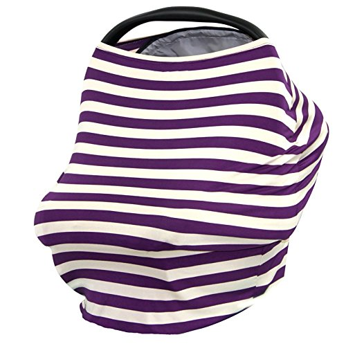 Bhbuy Baby Car Seat Cover Canopy and Nursing Cover Scarf Multi-Use for Breastfeeding (Purple)
