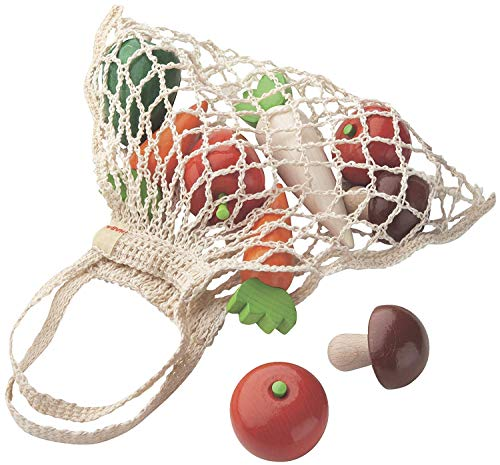 HABA Shopping Net Vegetables - 9 Piece Wooden Pretend Play Food Set in Cotton Bag (Made in Germany)