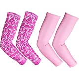RoryTory Cooling Arm Elbow Compression Sleeve Sun Guard Tattoo Sleeves Cover Up Outdoor Cycling Golfing Basketball Baseball Tennis Soccer Lymphedema - 2 Pairs Various Designs