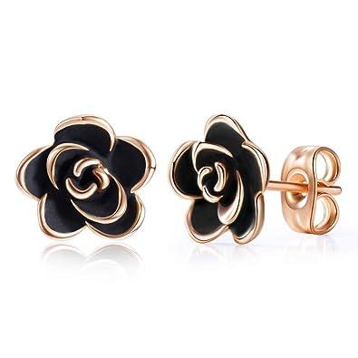 d450eb0a5 Acefeel 18K Rose Gold Plated Rose Flower Stud Earrings with Black Enamel  for Girls 9mm