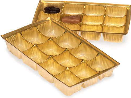 Pack Of 200, 8 X 4.25 X 1'' Medium Rectangle Solid Gold Candy Trays W/12 Sections