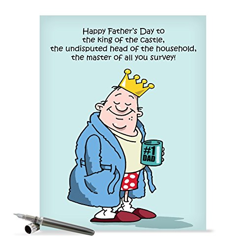 J0239 Jumbo Funny Father's Day Card: King of the Castle With Envelope (Extra Large Version: 8.5'' x 11'')