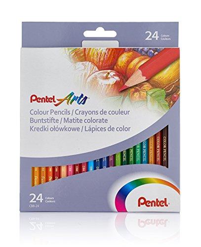 Lápices de varios colores. Paquete con 24 piezas. Marca Pentel