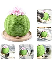 MOGOI Cactus Cat Scratcher, Cute Sisal Cat Scratching Post with Funny Ball, Circle Track with Moving Balls Satisfies Kitty窶冱 Hunting - 2020 New Cats Interactive Toys