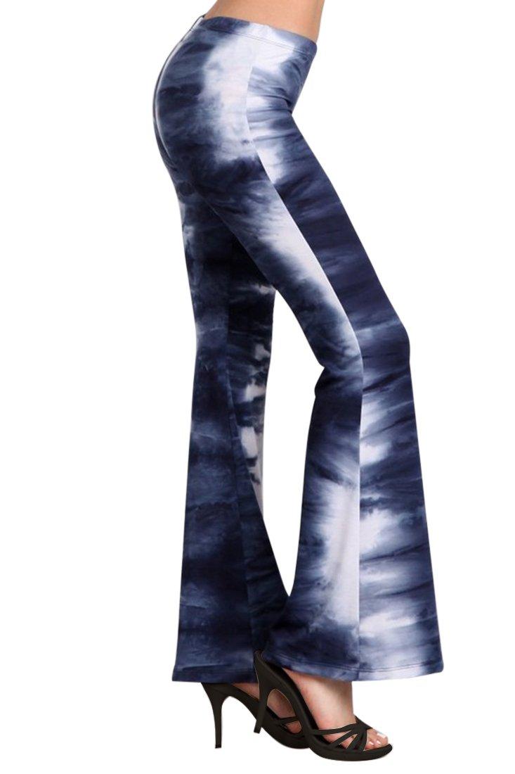 Zoozie LA Women's Bell Bottoms Stretch Tie Dye 01 Blue White 1X Also fits 2X