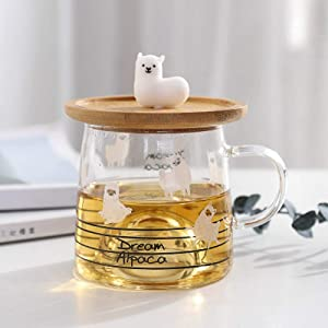 Alpaca mug glass cup with wooden cover glass high borosilicate transparent office cup cute gift cup (3)