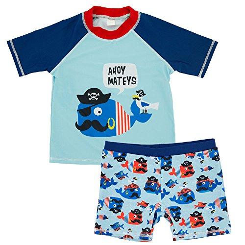 CHARMCZ Baby Toddler Boy 2pc Unicorn Short Sleeve Rash Guard Swimsuit UV Sun Protection Swim Set (5T, 1-Blue Unicorn Whale)