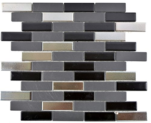 Mosaic tile ceramic black silver rods Trinity for wall bathroom toilet shower kitchen tile mirror counter cladding bath…