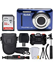 $114 » Kodak PIXPRO FZ53 16.15MP Digital Camera + 32GB Memory Card + Point and Shoot Camera Case + Extendable Monopod + Lens Cleaning Pen + LCD Screen Protectors + Table Top Tripod – Ultimate Bundle (Blue)