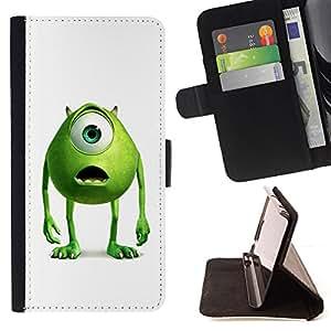 BullDog Case - FOR/Samsung Galaxy Core Prime / - / Friendly Green Monster /- Monedero de cuero de la PU Llevar cubierta de la caja con el ID Credit Card Slots Flip funda de cuer