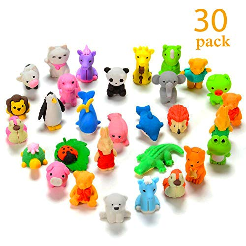 Sakiyr 30 Pack Animal Erasers Bulk for Kids, Mini Japanese Animal Puzzle Erasers Toys for for Party Favors, Classroom Prizes, Carnival Gifts and School Supplies
