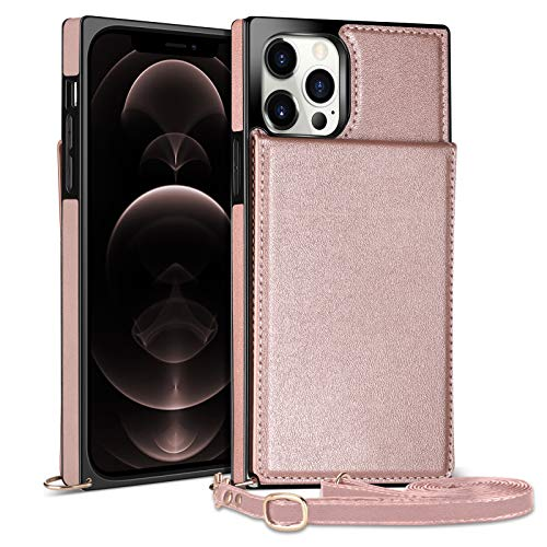 WESADN Compatible with iPhone 12 Pro Max Leather Wallet Case Girls Women Card Holder Slot Pocket Kickstand Case with Crossbody Strap Lanyard Slim Protective Magnetic Closure Purse Case Rose Gold