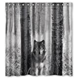 Wolf In Forest High Quality Fabric Bathroom Shower Curtain 66 x 72 Inches