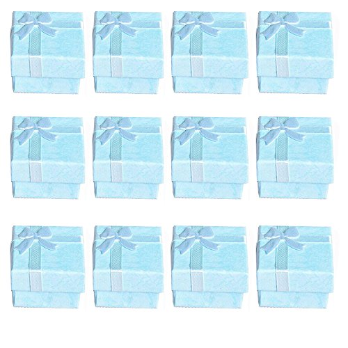 Tiffany Bangle Ring - Glitterymall 12pcs Robin's Egg Blue Cardboard Cube Jewelry Ring Earrings Bangle Gift Boxes Cutely Small Gift Box Holder Organizer with Satin Ribbons Bownot