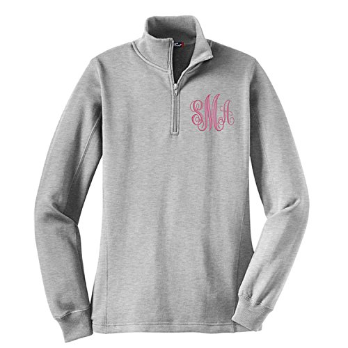 Monogrammed Sweatshirt Quarter Zip FREE Custom Monogram Great for gifts wedding (Grey M)