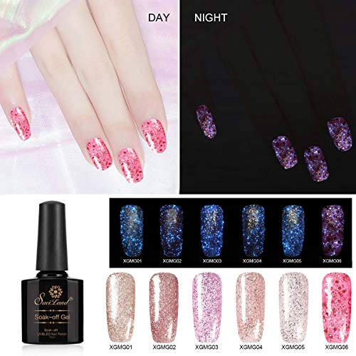 6pcs Glitter Gel Nail Polish Set, Saviland Glow in the Dark Nail Varnish UV/Led Manicure Nail Art Kit (Pink Rose Gold Series)