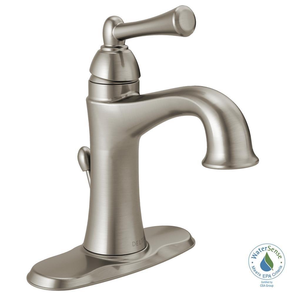 Delta Rila 4 in. Centerset Single-Handle Bathroom Faucet in SpotShield Brushed Nickel