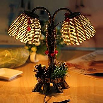 SQDTNSLT-moldura de pino de doble lámpara de mesa jardín ...