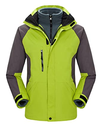 Qitun 3 en 1 Hombre Mujer Impermeable Chaqueta de Montaña y Chaqueta de Abrigo al Aire Libre Fruta Verde Hombre XL: Amazon.es: Ropa y accesorios