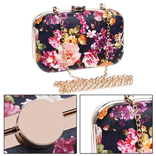 Bags Party Evening Womens Purse Chain Ladies Wedding Wallet Clutch Dress Bags Black Shoulder Flowers gPwFPrXq