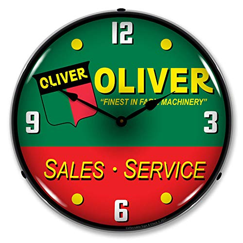 Oliver Tractor Sales and Service Finest in Farm Machinery LED Wall Clock, Retro/Vintage, Lighted, 14 inch