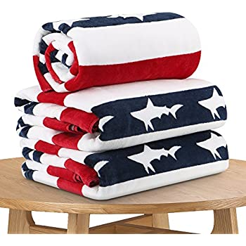 Quick Dry Fun USA Cotton Oversized Beach Towel - Print Sandproof Striped 35 x 70inch Pool Towel, Big Blue Extra Large Swim Towel, Summer Kids Cabana Towel