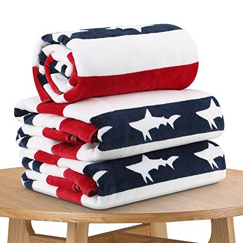 Quick Dry Fun USA Cotton Oversized Beach Towel - Print Sandproof Striped 35 x 70inch Pool Towel, Big Blue Extra Large Swim Towel, Summer Kids Cabana Towel ()