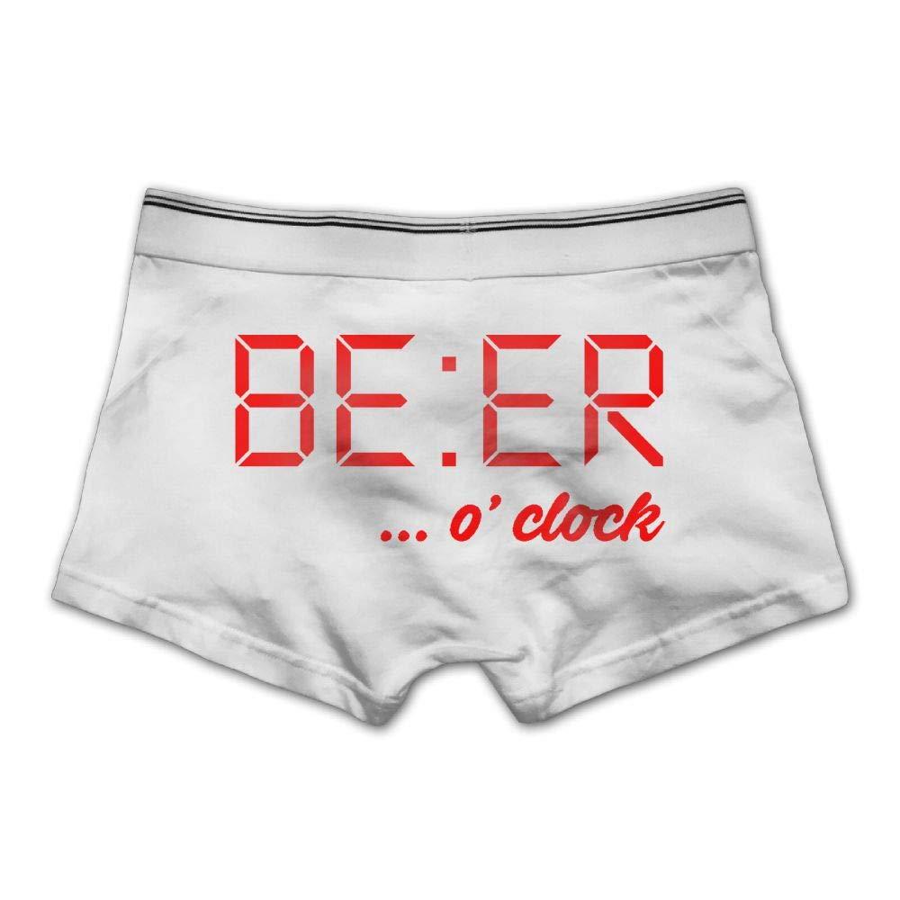 Ghhpws Factory Men's Beer O'clock Time Underwear Cotton Boxer Briefs Stretch Low Rise Trunks XXL White