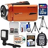 Bell & Howell Splash HD WV50 Waterproof Digital Video Camera Camcorder (Orange) with 32GB Card + LED Light + Backpack Case + Tripod + Kit