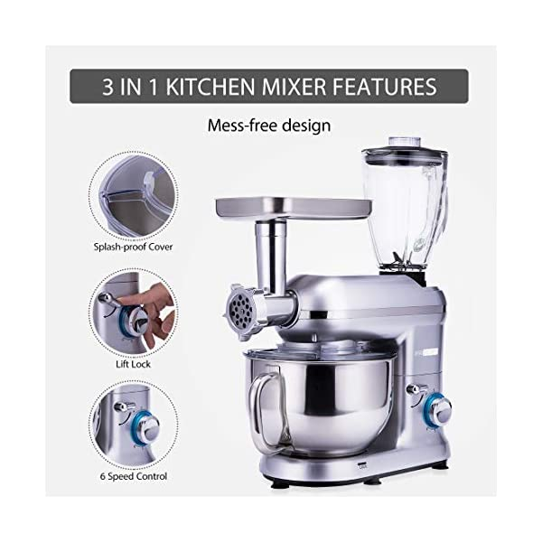 VIVOHOME 3 in 1 Electric 650W Multi-functional 6-Speed Tilt-Head Kitchen Stand Mixer Meat Grinder Juice Blender with 6… 3