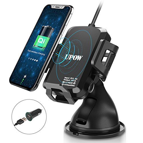Wireless Car Charger Mount, Upow 2-in-1 Vehicular Phone Hold