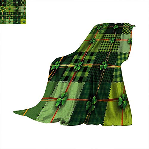 Irish Warm Microfiber All Season Blanket Patchwork Style St. Patricks Day Themed Celtic Quilt Cultural Checkered with Clovers Print Artwork Image 60