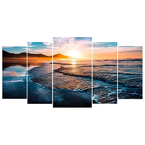 5 Sets Diamond Painting Kits Sunset - DIY 5D Diamond Painting Full Square Drill Kits for Adults, Sunset Beach Diamond Paintings for Wall Decor 30.7x15.75 inch