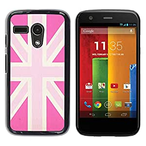 YOYOYO Smartphone Protección Defender Duro Negro Funda Imagen Diseño Carcasa Tapa Case Skin Cover Para Motorola Moto G 1 1ST Gen I X1032 - uk rosa gran país gay bandera de Gran Bretaña