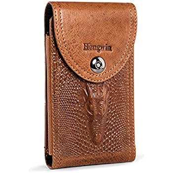 Fits Cellphone with Case on PG6 Vertical PU Leather Phone Holster with Belt Loop /& Clip Carrying Case Waist Bag Cellphone Holder for iPhone Xs X 7 8 Galaxy S7 S6 S5