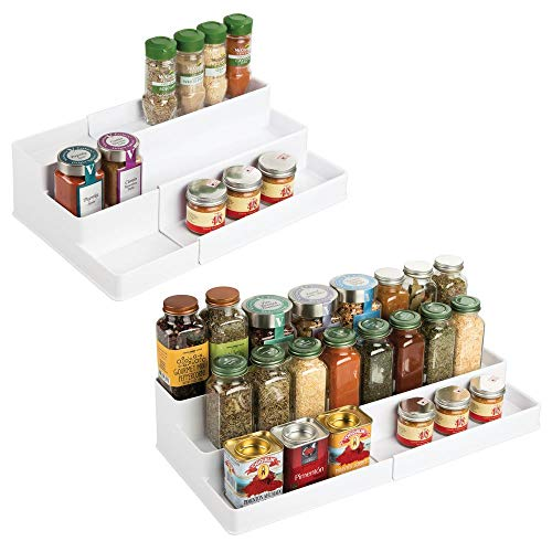 (mDesign Plastic Adjustable, Expandable Kitchen Cabinet, Pantry, Shelf Organizer/Spice Rack with 3 Tiered Levels of Storage for Spice Bottles, Jars, Seasonings, Baking Supplies, 2 Pack - White)