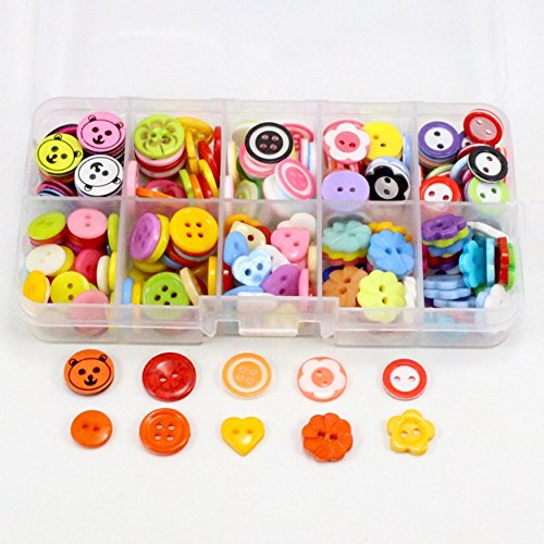 120pcs/Box 10-13mm Mixed Flower Heart Circle Flat Back 2 hole Buttons Sew On Clothes Garment DIY Scrapbooking (Ava Jewelry Box)