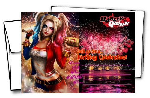 12 HARLEY QUINN Birthday Invitation Cards (12 White Envelops Included)