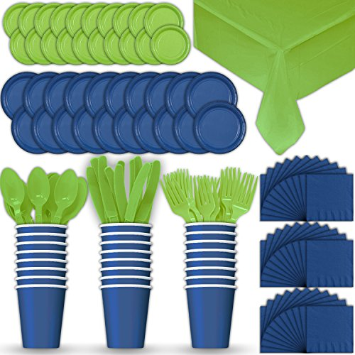 Paper Tableware Set for 24 - Blue & Lime Green - Dinner and Dessert Plates, Cups, Napkins, Cutlery (Spoons, Forks, Knives), and Tablecloths - Full Two-Tone Party Supplies Pack]()