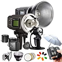 Godox Witstro AD600BM 600WS HSS 1/8000s 2.4G Wireless Outside Studio Flash Light 8700mAh Battery with X1T-C Wireless Flash Trigger AD-H600B Portable Flash Head and other Useful Flash Accessories