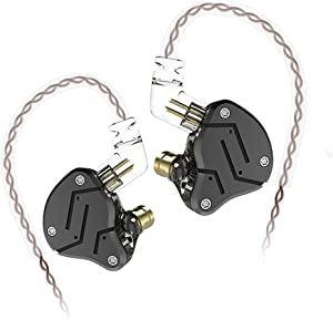 KZ ZSN Earphone in Ears Monitor with 1BA and 1DD, KZ High Fidelity in Ear Headphone Earbuds with 0.75mm 2 pin Cable, 1 Dynamic and 1 Balanced Armature Driver KZ Headphone (Black, NO Mic)