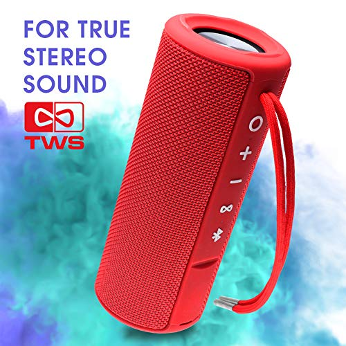 EBODA Portable speaker, Waterproof Wireless outdoor bluetooth shower speaker with TWS, AUX, 15W Bass Sound, Built-in Mic, Floating, Hands-Free, Bluetooth 4.2, for beach, Sport, bath, Pool, Travel Red