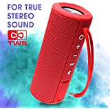 EBODA Waterproof Bluetooth Speaker, Portable Speakers, Wireless Speakers with TWS, AUX, 15 Watt, Bluetooth 4.2, Floating, Rich Bass, Hands-Free for Sport, Shower, Pool, Beach, Travel, Outdoor - Red