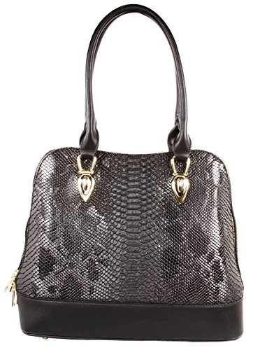 Derica Python Embossed Pattern Faux Leather Satchel Shoulder Hand Bag - ()